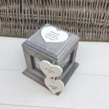 Shabby Chic In Memory Of A Daughter Rustic Wood Personalised Photo Cube Box